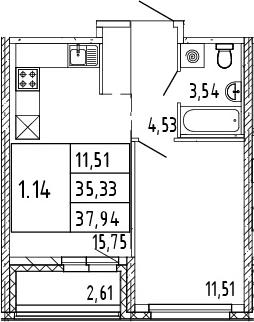 2Е-комнатная, 36.64 м²– 2