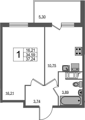 1-к.кв, 39.89 м²