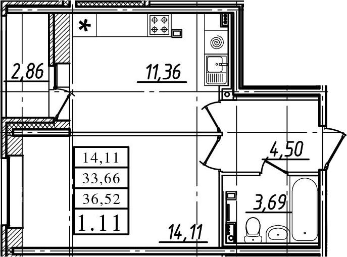 1-комнатная, 33.66 м²– 2