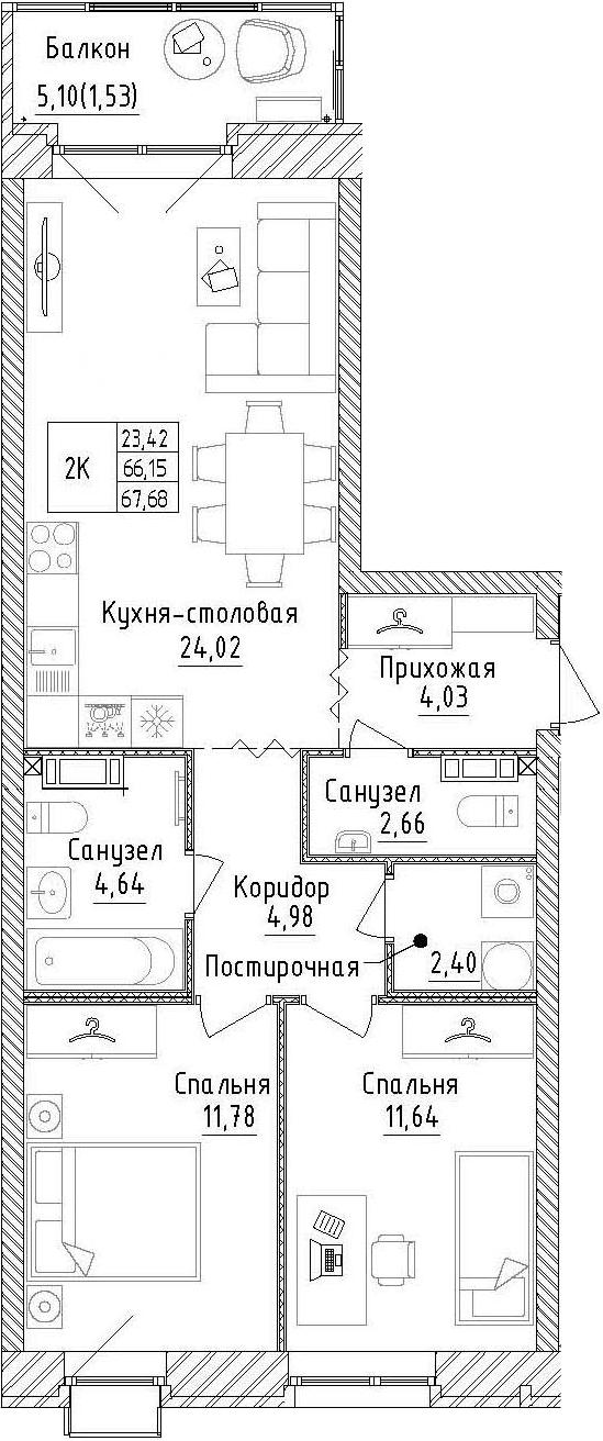 2-к.кв, 71.25 м²
