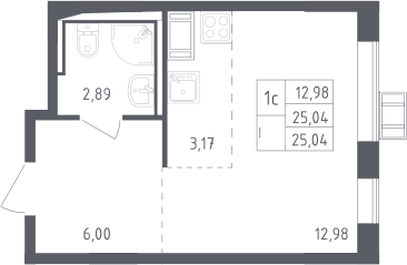 Студия, 25.04 м², 14 этаж