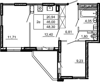 2-к.кв, 48.3 м²