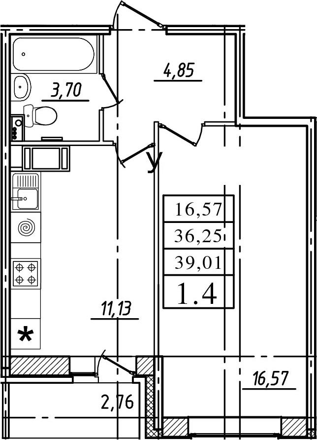 1-к.кв, 36.25 м²