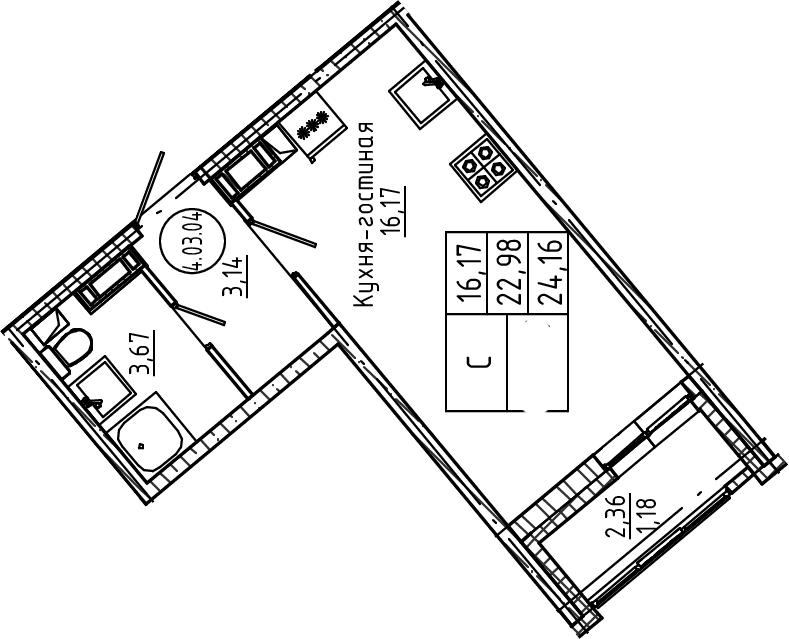 Студия, 24.16 м²