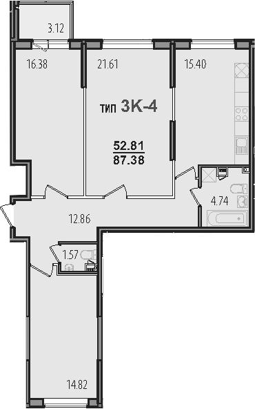 3-к.кв, 90.5 м²