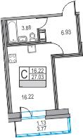 Студия, 27.03 м², 9 этаж