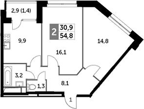 2-комнатная, 54.8 м²– 2