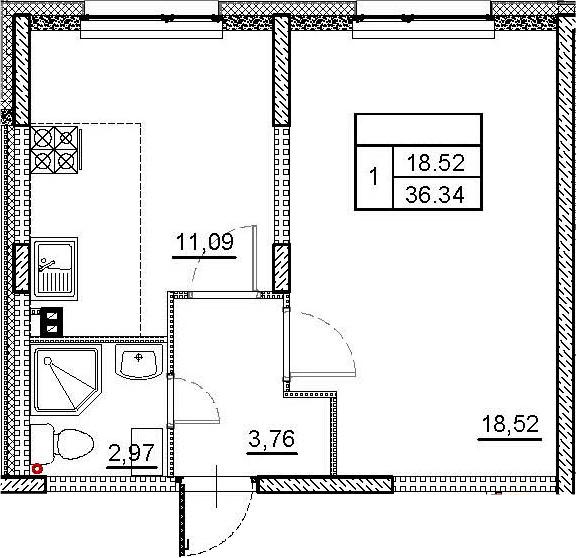 1-к.кв, 36.34 м²