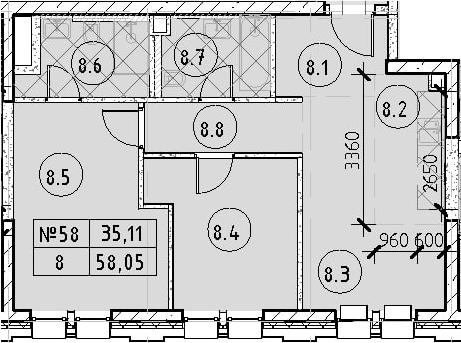 3Е-к.кв, 58.05 м²