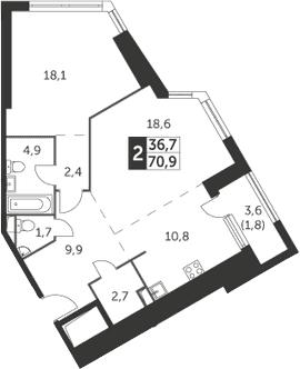 2-комнатная квартира, 70.9 м², 3 этаж – Планировка