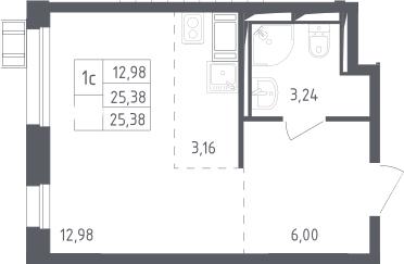 Студия, 25.38 м², 13 этаж
