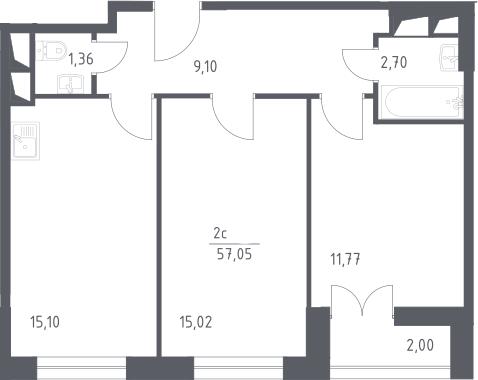 3Е-комнатная, 57.05 м²– 2