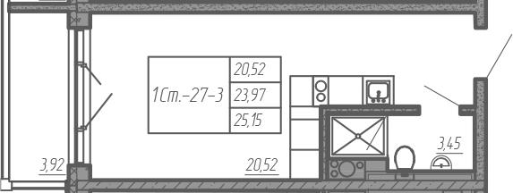 Студия, 25.15 м²– 2
