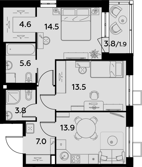 2-к.кв, 64.8 м²