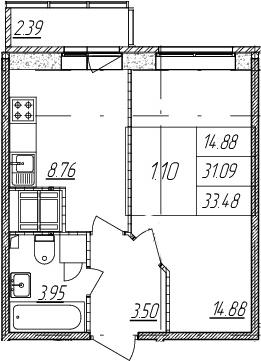1-к.кв, 31.09 м²