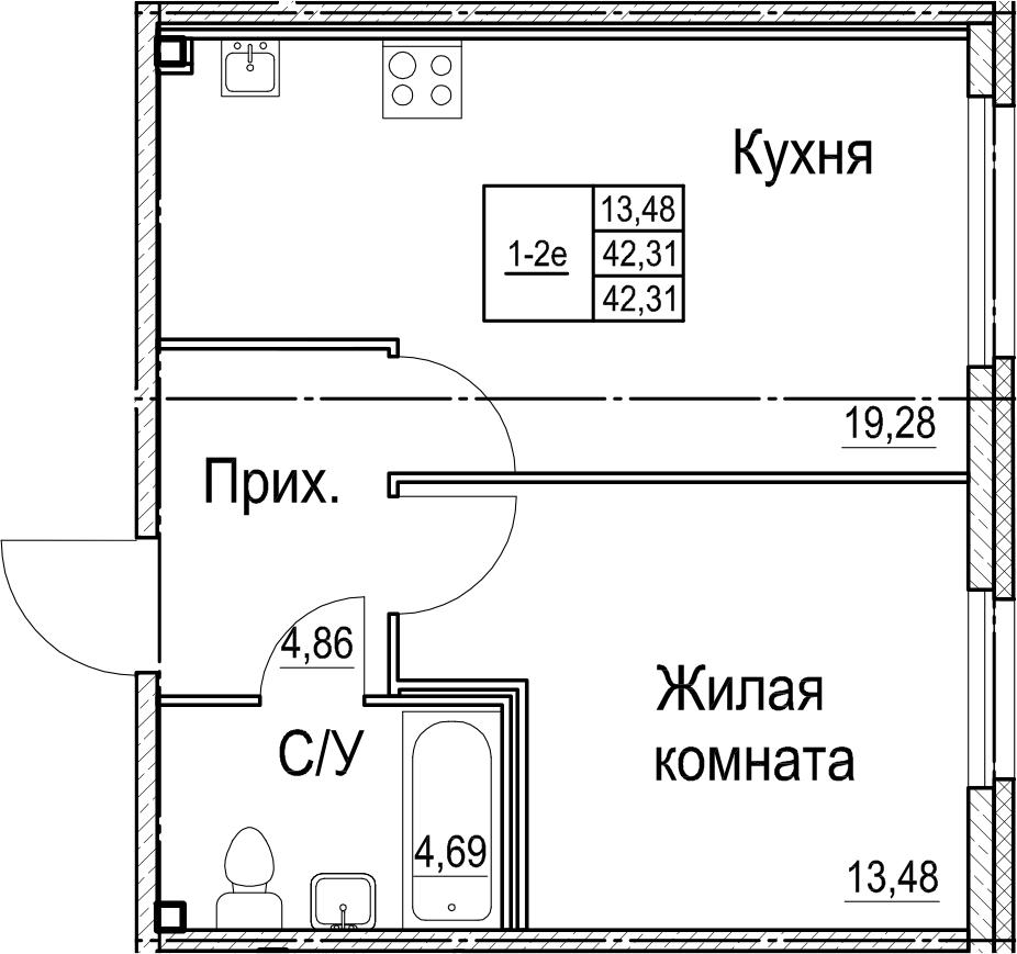 2Е-к.кв, 42.31 м²