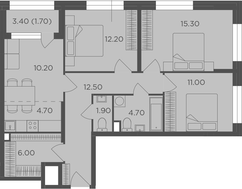 4Е-к.кв, 80.2 м²