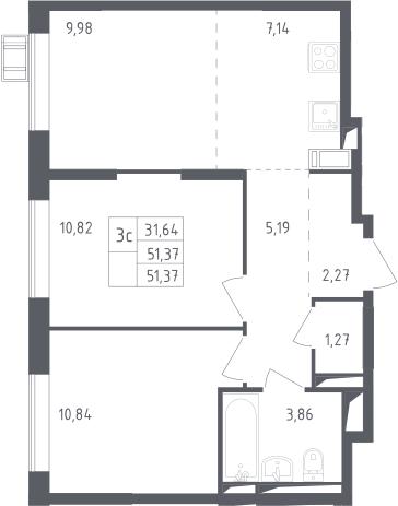 3-к.кв (евро), 51.37 м²