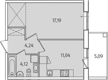 1-комнатная, 39.14 м²– 2