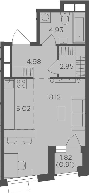 Студия, 36.81 м²– 2