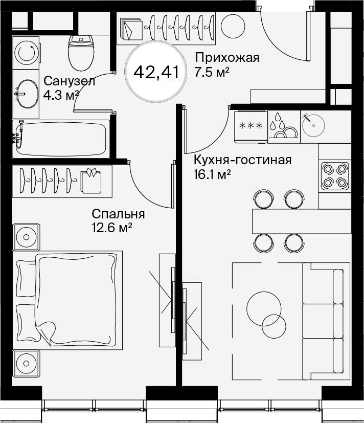 2-к.кв (евро), 42.41 м²
