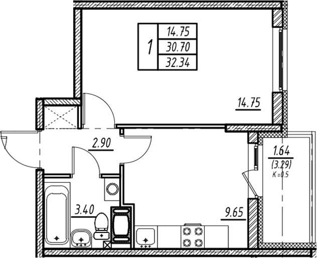 1-к.кв, 33.99 м²