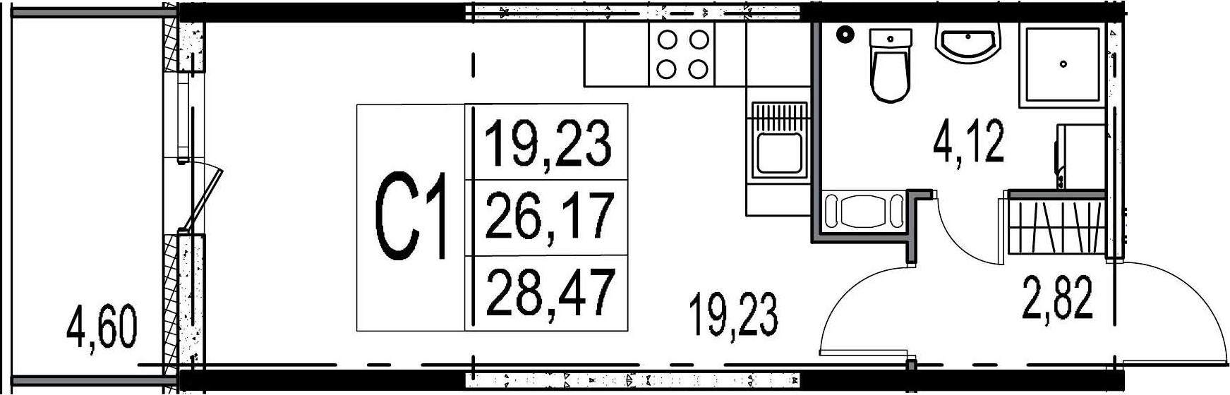 Студия, 26.17 м², 6 этаж