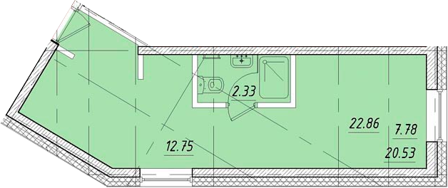 Студия, 22.86 м²