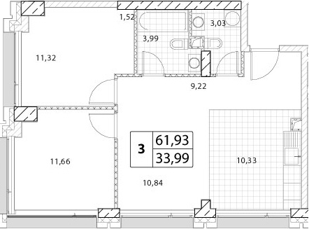 3-к.кв (евро), 61.93 м²