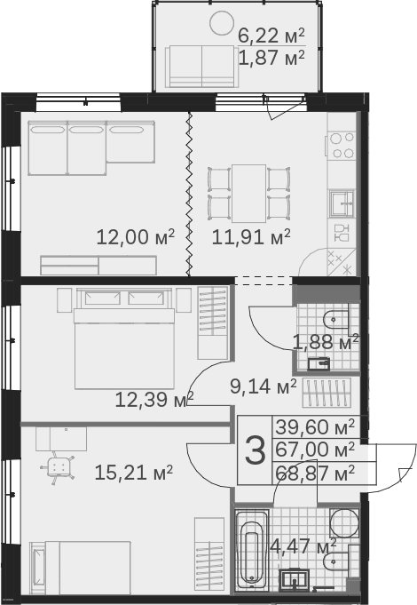 3Е-к.кв, 68.87 м², от 2 этажа