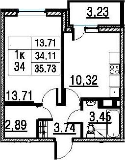 1-к.кв, 35.73 м², 11 этаж