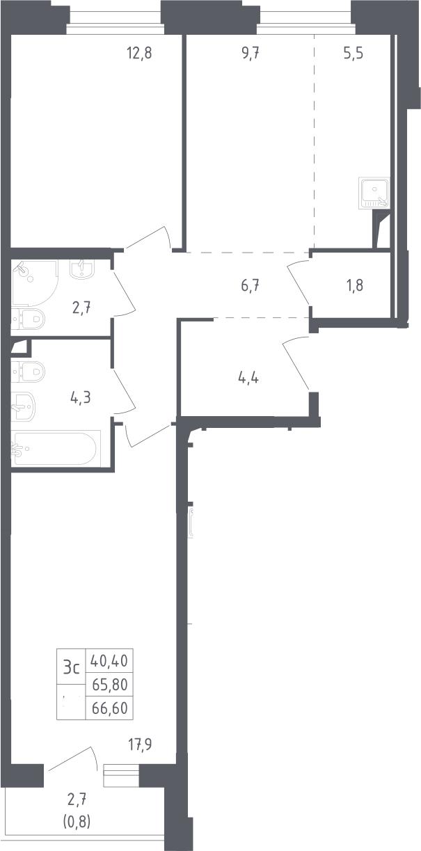 3Е-к.кв, 66.6 м²