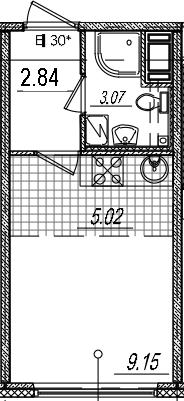 Студия, 20.08 м², 14 этаж
