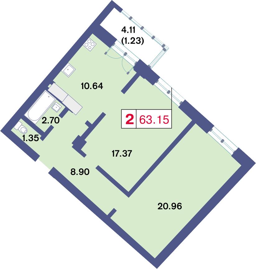 2-комнатная, 63.15 м²– 2