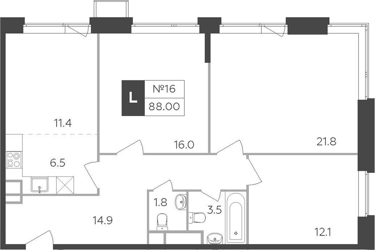 4-к.кв (евро), 88 м²
