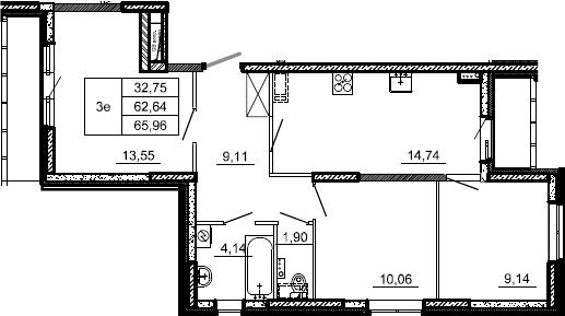3-к.кв, 65.96 м²