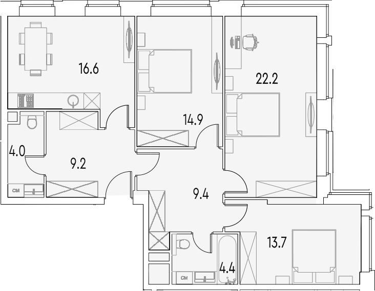 3-к.кв, 94.4 м²