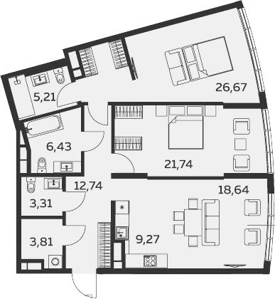 3Е-комнатная, 107.82 м²– 2