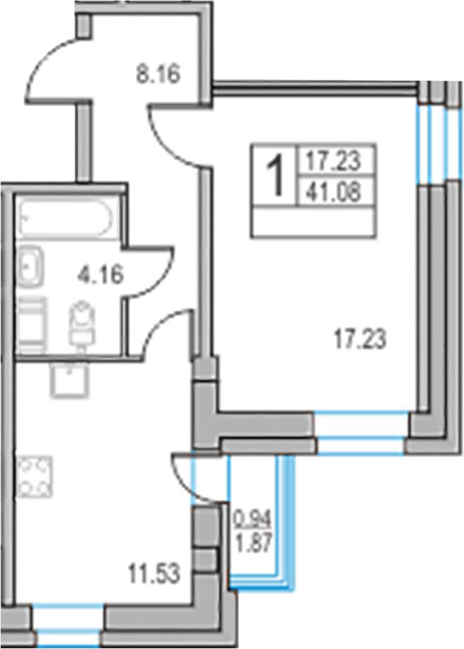 1-комнатная, 41.08 м²– 2
