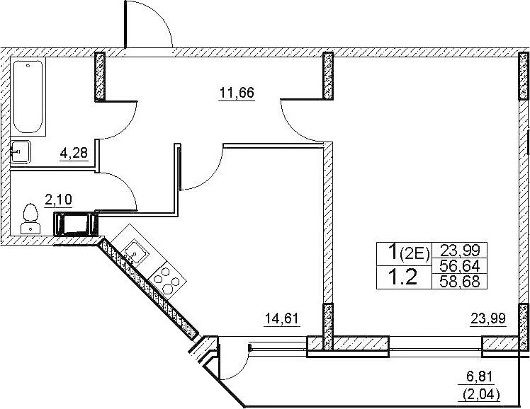 2-к.кв (евро), 63.44 м²