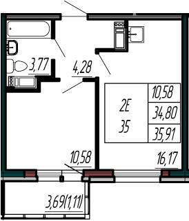 2-к.кв (евро), 38.49 м²