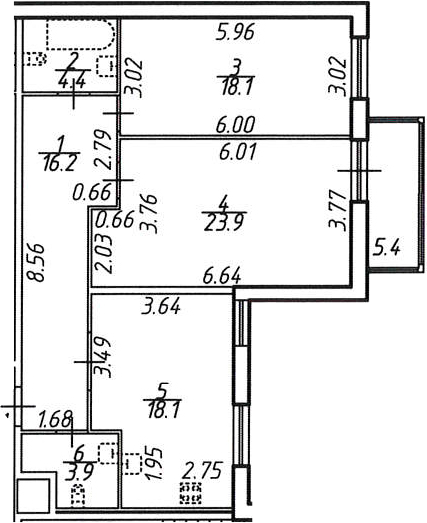 3Е-к.кв, 86.2 м²