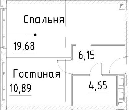 2Е-комнатная, 41.41 м²– 2