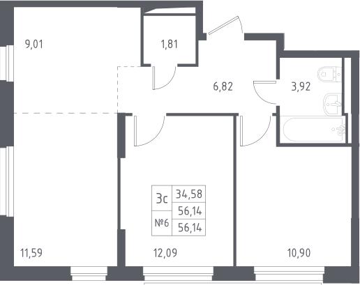 3Е-к.кв, 56.14 м², 4 этаж