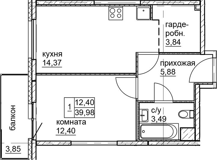 1-к.кв, 39.98 м²