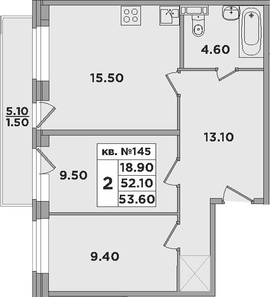 3-к.кв (евро), 57.1 м²