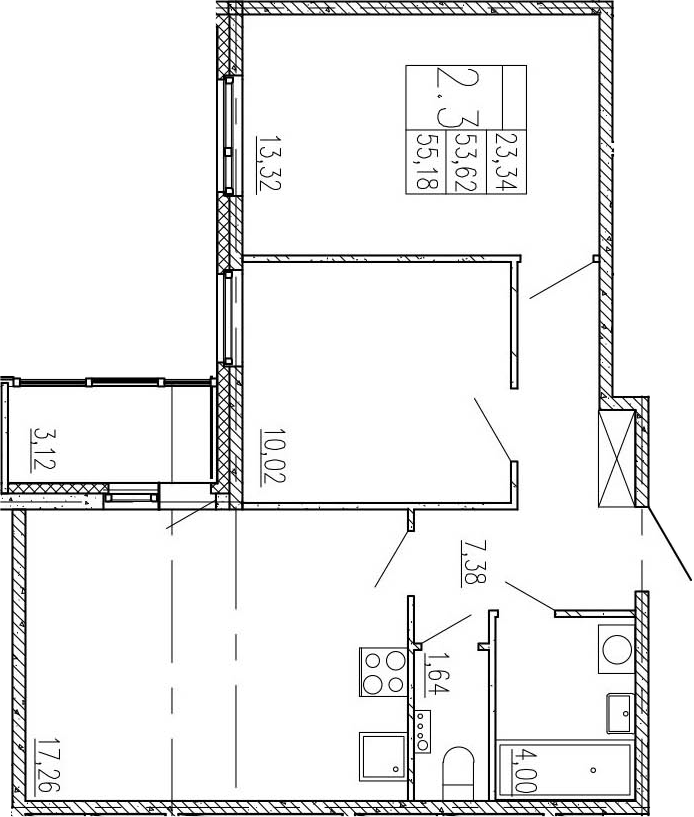 3-к.кв (евро), 56.74 м²
