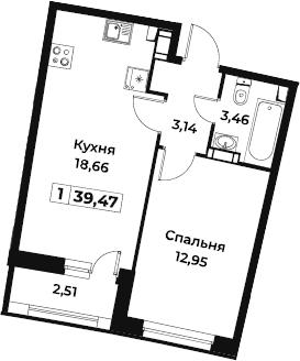 2Е-к.кв, 39.47 м², от 3 этажа