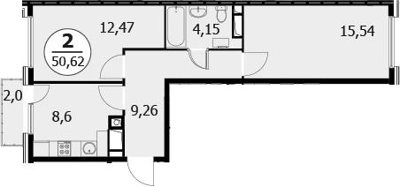 2-к.кв, 52.02 м²