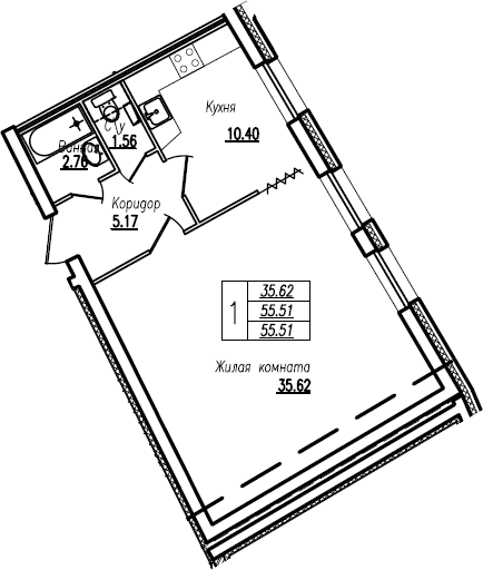 Студия, 55.51 м²– 2